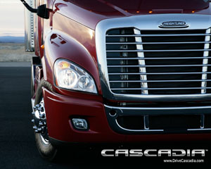 Freightliner red close